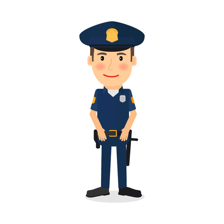 People occupation character. Policeman cartoon illustration