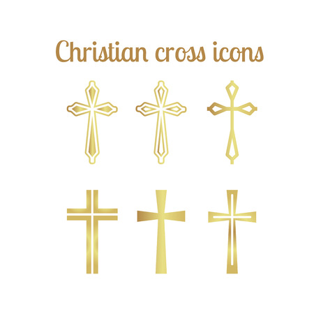 Golden christian cross icons isolated on white.