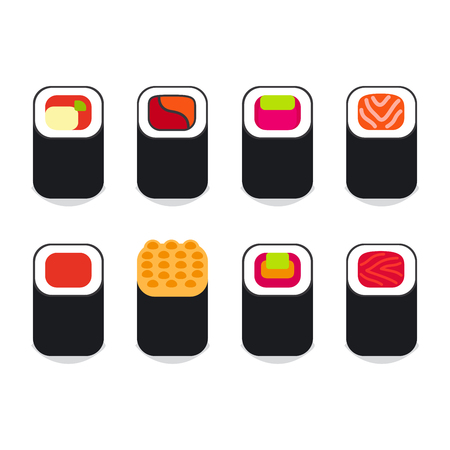 egg roll: Japanese food icons set. Different sushi icons illustration