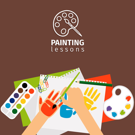 kids painting: Kids painting lessons painting craft illustration