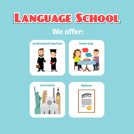 language school: Benefits of studying in language school abroad. Vector illustration