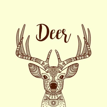 horned: Brown color hand drawn horned deer head with floral ornament, vector illustration Illustration