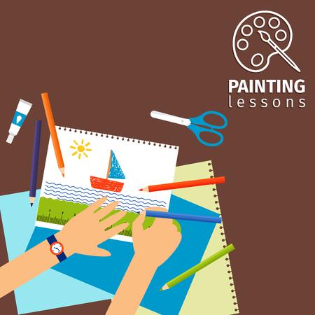 pegamento: Los niños clases de pintura con las manos de los niños tijeras y papel ilustración vectorial