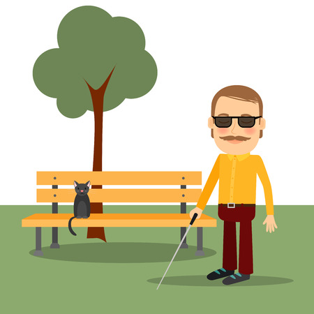 cat's eye glasses: Blind man in the park standing near the bench. Vector illustration