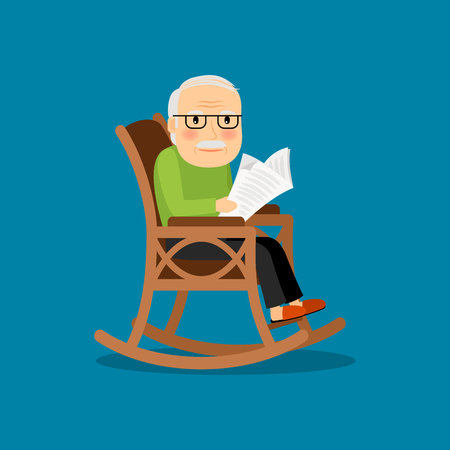 invalid: Eldery man on wheelchair reading newspaper. Vector illustration