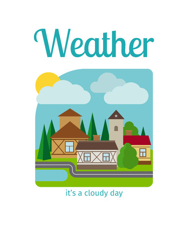 Different weather in the town vector illustration. Its a cloudy day