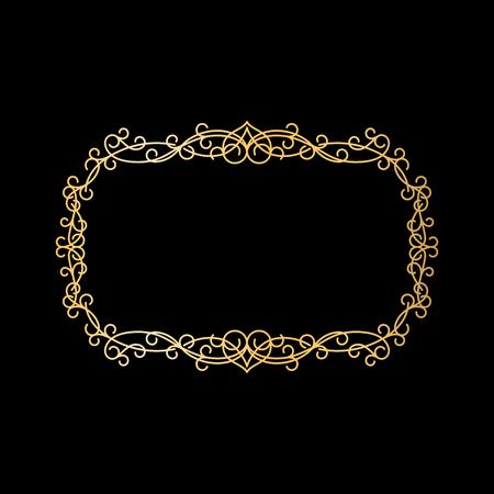 Golden vintage royal element. Ornamental frame vector illustration Illustration