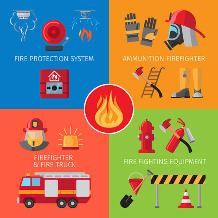 house on fire: Firefighting inventory and fire rescue concepts. Business and house fire safety vector illustration Illustration