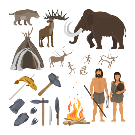 Stone age vector isolated on white background. Caveman or troglodyte, mammoth and bonfire, prehistoric aged primitive tools Vettoriali