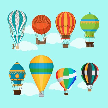 Aerostat balloon transport. Vintage hot air balloons vector illustration Ilustração