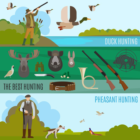 hunting banners vector wild birds and animals hunting vector