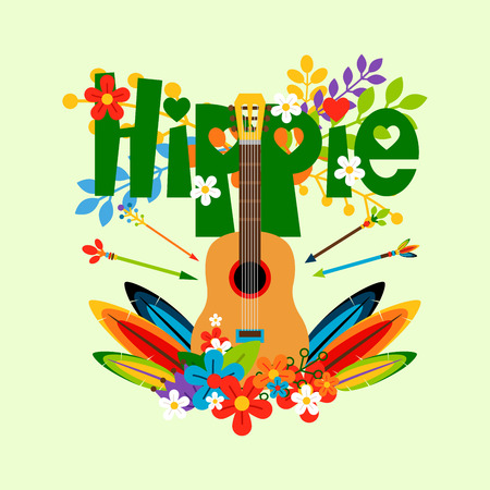 Hippie vector illustration with flowers, feathers and guitar Illustration