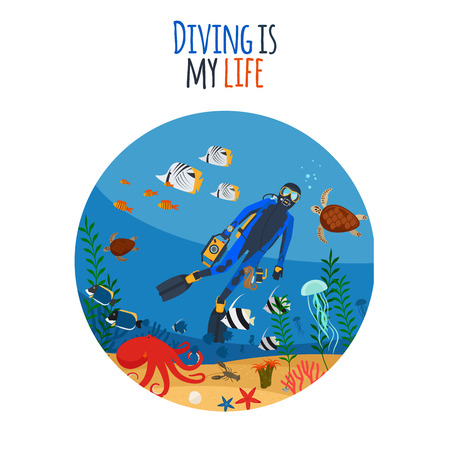 deep sea diver: Diving is my life illustration. Diver underwater circle isolated icon. Vector illustration