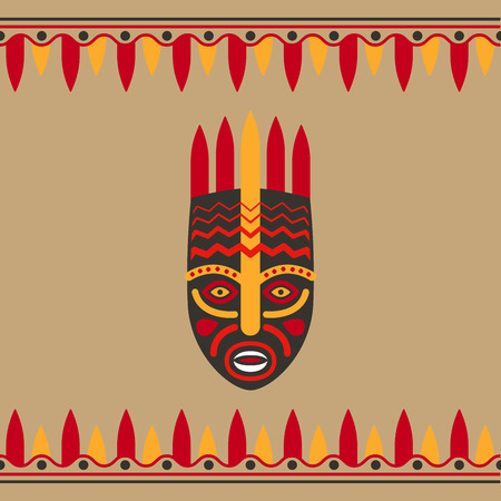 tiki head: Tribal style card with mask and borders. Vector illustration