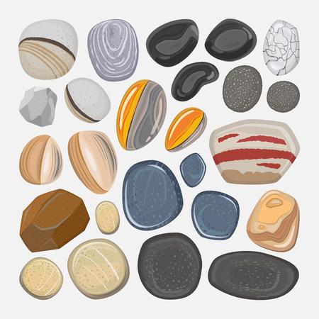 Vector Fluss-Steine ??auf weißem Hintergrund. Verschiedene Formen Seefelsen Kieseln Vektorgrafik