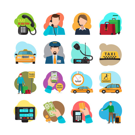 yellow cab: Taxi cartoon icons. Taxi passenger and driver, taxi orange sedan and yellow cab vector illustration