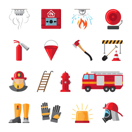 firefighting: Firefighting and fire safety equipment flat icons. Light buzzer and fire detector, fire station and hydrant. Vector illustration