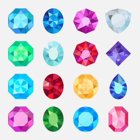 Gems isolated on white background. Vector jewels or precious diamonds gem set Illustration