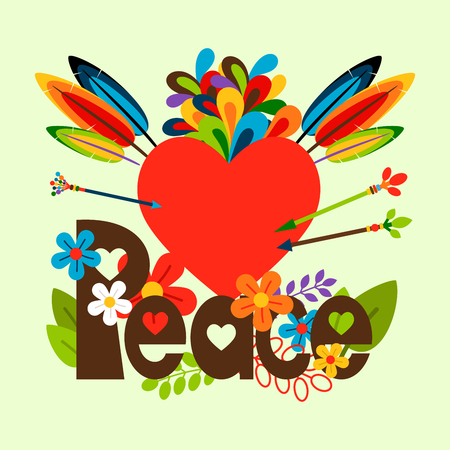 Hippie vector illustration with flowers, feathers, red heart and Peace lettering