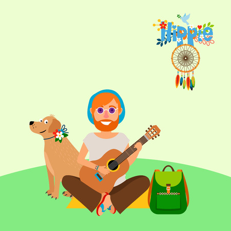headband: Hippie vector illustration. Barefoot man with dog and backpack sitting on the mat