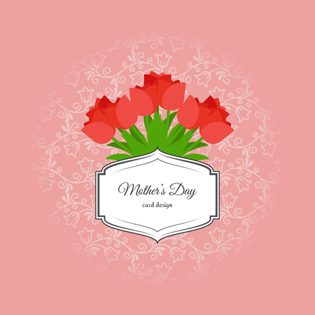 red tulip: Mothers day card design with red tulip flowers and vintage label. Vector illustration