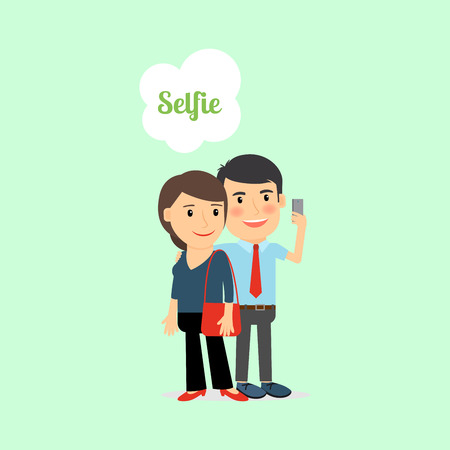 woman cellphone: Man and woman taking Selfie, cartoon vector illustration