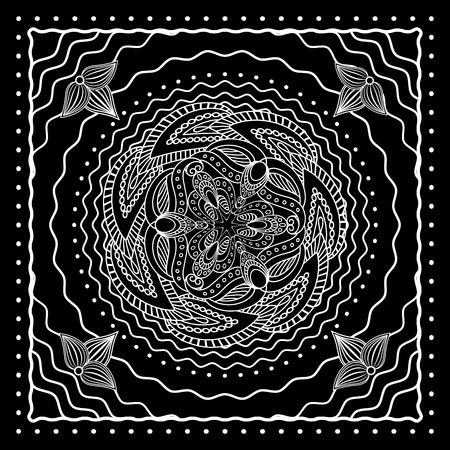 ascot: Black and white oriental bandana scarf design. Vector illustration Illustration