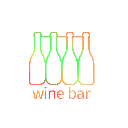 Logo design for wine bar with bottles, isolated wector Illustration