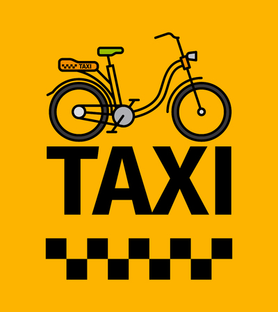 Bicycle taxi transport, advertising poster, vector illustration Illustration