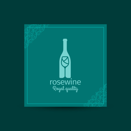 royal quality: Rosewine royal quality square card with decorative corners. Vector illustration