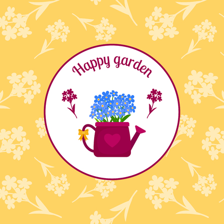 origins: Happy garden circle sticker design with watering can and blue flowers on the yellow background. Vector illustration