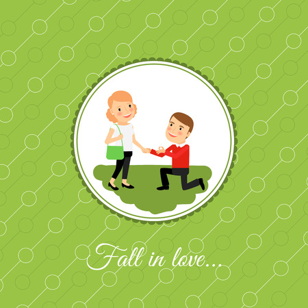 proposed: Man make a proposal to marry, valintines day card template with green background. Vector illustration Illustration