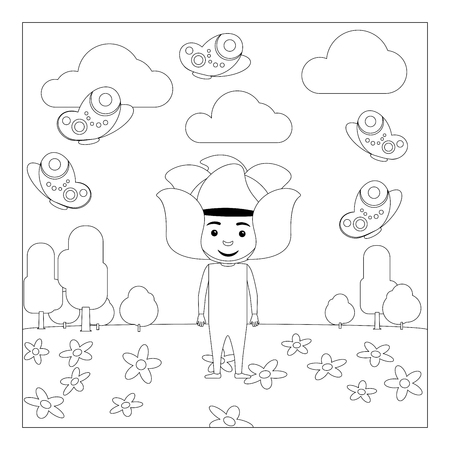 Ilustración Del Vector Del Esquema Del Cuerpo De Niño Para Los Niños ...