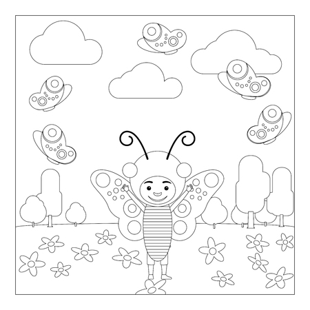 fashion story: Kid in fancy insect dress in kindergarten. Coloring page for children. Vector illustration