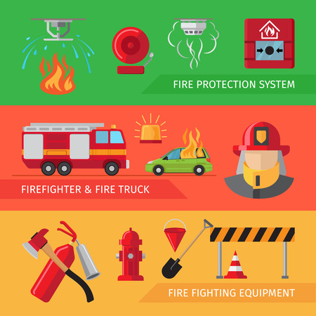 smoke alarm: Firefighters flat horizontal banners for webpage infographics. Vector smoke and fire alarm, fire truck and fire safety equipment