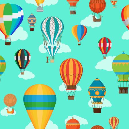 Vintage hot air balloons seamless pattern. Cartoon air balloon background. Vector illustration Illustration