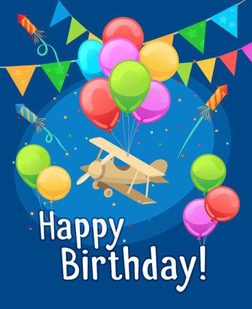 Kids party card template. Children happy birthday card with balloons and airplane. Vector illustration Illustration