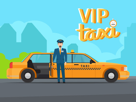 first house: Vip taxi service with yellow car cab, driver in uniform and open door vector illustration