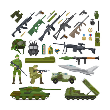 Military army USA and NATO flat icons. Ammunition and weapons, helmet and rifle, tank and military plane. Vector illustration