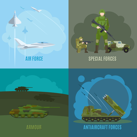 armed: Military and army. Armed forces and air force, special forces and antiaircraft defense vector illustration Illustration