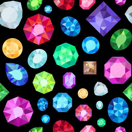 diamonds on black: Gem seamless pattern. Vector jewels gemstone on black background
