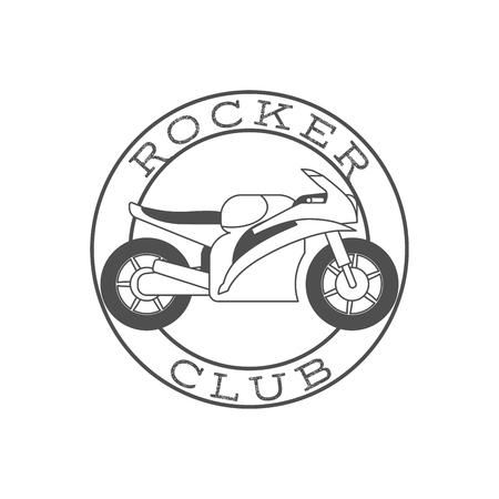 vision repair: Rocker club retro label in circle shape. Vector illustration