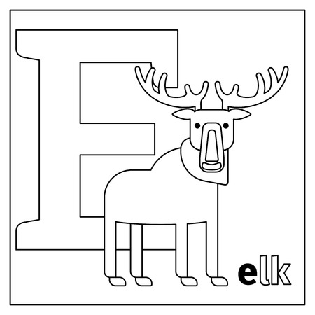 infancy: Coloring page or card for kids with English animals zoo alphabet. Elk, letter E vector illustration