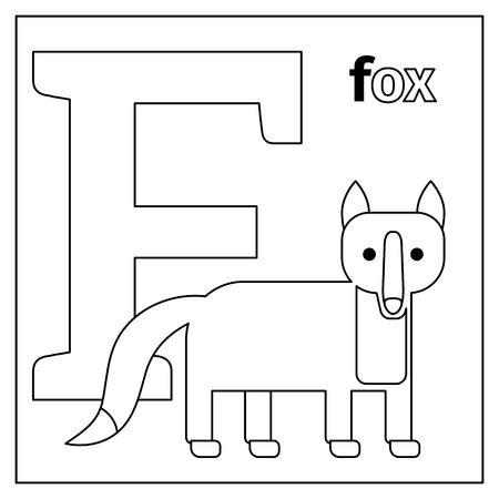Coloring page or card for kids with English animals zoo alphabet. Fox, letter F vector illustration
