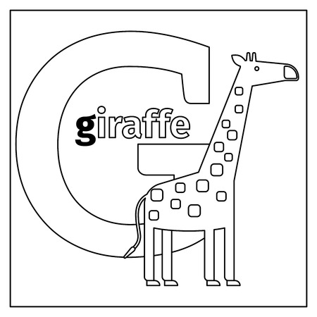 g giraffe: Coloring page or card for kids with English animals zoo alphabet. Giraffe, letter G vector illustration Illustration