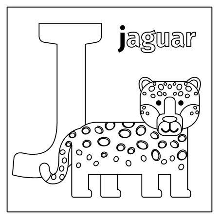 Coloring Page Or Card For Kids With English Animals Zoo Alphabet ...