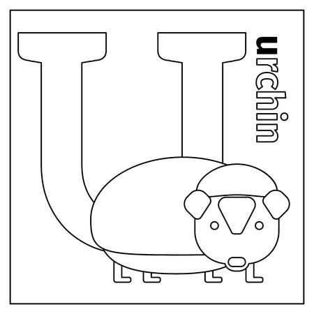 Página Para Colorear O Tarjeta Para Niños Con Alfabeto De Zoológico ...
