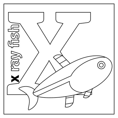 animals x ray: Coloring page or card for kids with English animals zoo alphabet. X ray fish, letter X vector illustration