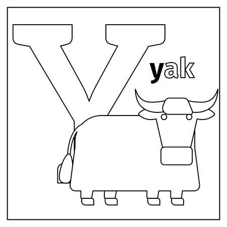 Coloring page or card for kids with English animals zoo alphabet. Yak, letter Y vector illustration
