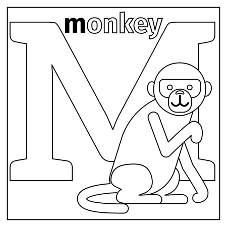 kindy: Coloring page or card for kids with English animals zoo alphabet. Monkey, letter M vector illustration Illustration